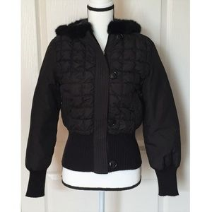 Kenneth Cole Black Hooded Puffer Down Jacket XS